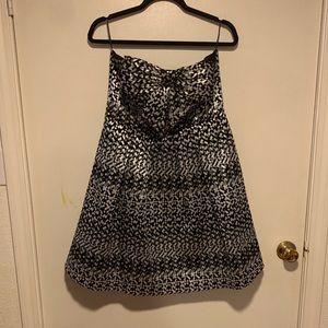 Anthropologie strapless metallic bow front dress